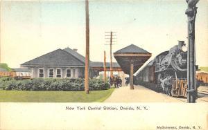 Oneida NY Central Railroad Station Train Depot United Art Publishing Postcard