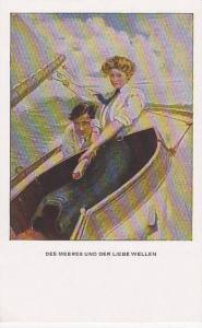 Couple on sail boat fighting restless waves, Des Meeres Und Der Liebe Wellen,...