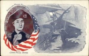 US Navy Patriotic First Naval Hero John Paul Jones American Flag Postcard