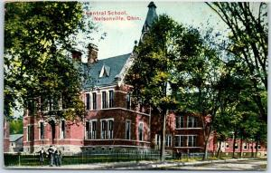 Nelsonville, Ohio Postcard Central School Building Street View 1913 OH Cancel