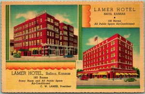 Vintage 1940s LAMER HOTELS Kansas Advertising Postcard Salina & Hays / Linen