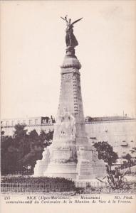 France Nice Monument commemoratif du Centenaire de la Reunion de Vice a la Fr...