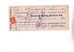 1933 Royal Bank Cheque Stamp Enamel Heating 1933 Sackville New Brunswick