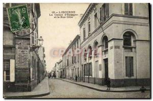 Old Postcard Bank Caisse d & # 39Epargne and Orb street Libourne