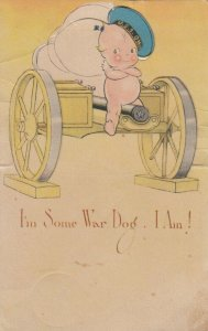 Kewpies ; I'm Some War Dog , 1900-10s ; KLEVER Card, Easel type ; AS O'Neill