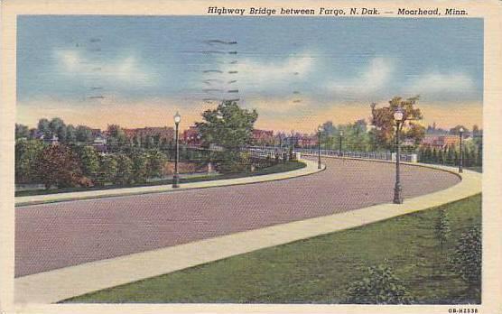Highway Bridge between Fargo, N. Dak, Moorhead,  Minnesota, 30-40s