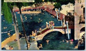 Coral Gables, Florida Postcard VENETIAN POOL Aerial View Bathing Linen c1940s
