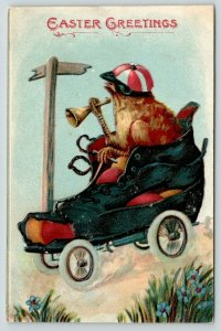 Easter Fantasy~Race Jockey Chick in Roller Skate Shoe Car~Horn~Embossed~1909