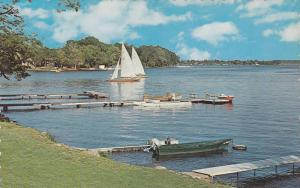 Visitors enjoy sailing, water sports, fishing and swimming on lake, Beeton, O...