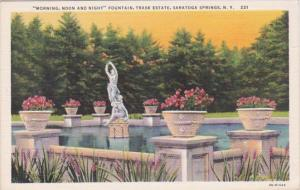 New York Saratoga Springs Morning Noon and Night Fountain Trask Estate Curteich