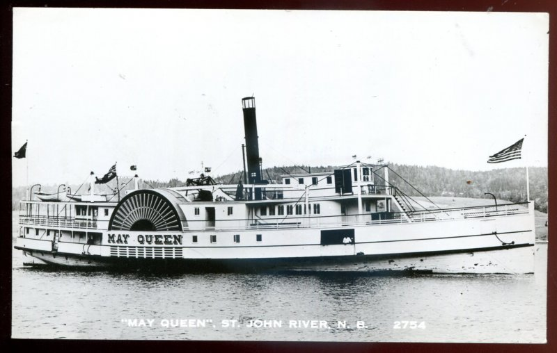 dc101 - ST. JOHN RIVER NB Postcard 1950s Steamer MAY QUEEN Real Photo Postcard