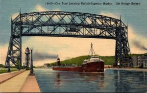 Minnesota Ore Boat Leaving Duluth-Superior Harbor Lift Bridge Raised Curteich