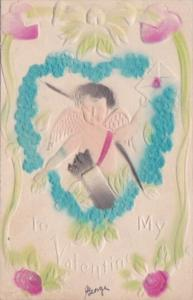 Valentine's Day Cupid With Heart Of Blue Flowers 1909