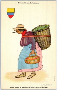 1940s COLOMBIA Linen Postcard Woman Going to Market Artist G.F. Briggs UNUSED