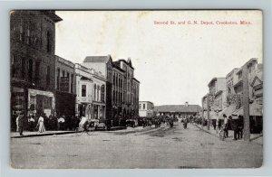 Crookston MN-Minnesota, Second Street, G N Depot, Vintage Postcard
