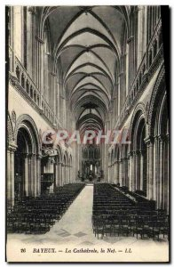 Old Postcard Bayeux Cathedral Nave
