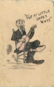 Unique hand-made drawn old postcard guitar singer caricature shoes away message