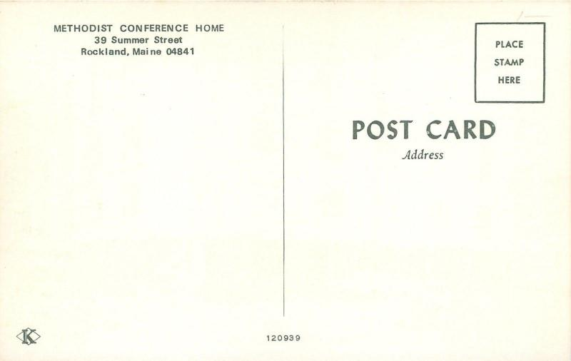 Rockland Maine~Methodist Conference Center~1960s Car~Postcard