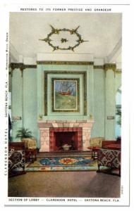 Clarendon Hotel Lobby, Daytona Beach, FL Postcard