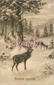 Old Postcard Happy New Year Deer