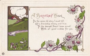 BIRTHDAY, 1900-10s; Country Scene, Daisies, Rhyme