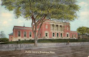 Brookline Massachusetts Public Library Exterior Antique Postcard K21858