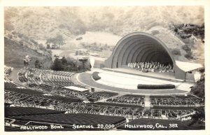 RPPC HOLLYWOOD BOWL, CA Seating 20,000 Brookwell Photo ca 1940s Vintage Postcard