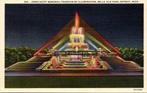 Michigan Detroit Belle Isle Park James Scott Memorial Fountain By Illuminatio...
