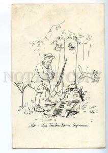215501 HUNT Hunter w/ Gun & cigars & FOX Old COMIC postcard