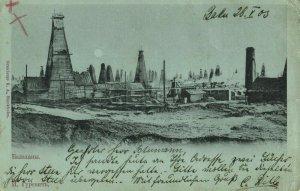 azerbaijan russia, BAKU BACOU, Oil Fields, Mining (1903) Postcard