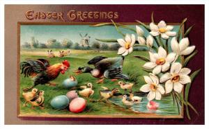Easter   Rooster, Mallard, chicks, colored eggs