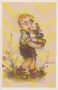 BONNIE: Blond Boy in Overalls Carrying 4 Schoolbooks w/ Robin Riding on Top