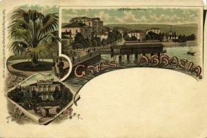 croatia, ABBAZIA OPATIJA, Multiview, Villa Angiolina (1899) Postcard