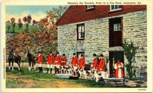 Postcard Lexington Kentucky KY Blessing Hound Dogs for Fox Hunt D7 Vintage VTG