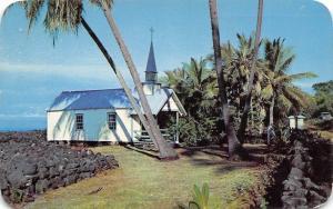 Kailua-Kona Hawaii~St Paul's By-the-Sea Church~Black Rocks~1958 Postcard