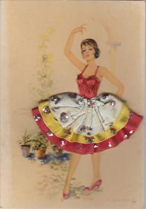 Spanish Dancer with Embroidered Skirt signed V Cegarra