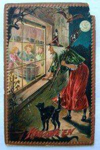 Tucks Vintage Halloween Postcard Witch Looks Through Window Embossed 160 Damage
