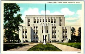 Longview, Texas Postcard GREGG COUNTY COURT HOUSE Building View Curteich Linen
