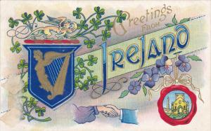 Greetings from IRELAND, Coat of Arms, Gold Harp, Violets, Shamrock, Castle, 0...