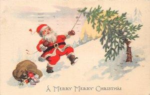 F42/ Santa Claus Merry Christmas Postcard c1923 Cutting Tree Toys 2