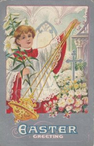EASTER, 1900-10s; Greeting, Choir boy holding Lily swinging incent, Silver Cross