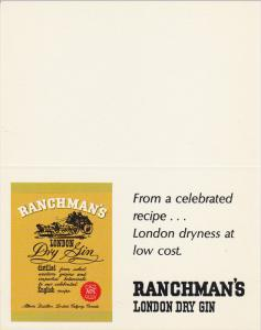 ADV: Ranchman's London Dry Gin, From A Celebrated Recipe... London Dryness a...
