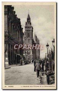 Paris Old Postcard The flower market and the concierge