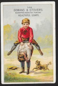 VICTORIAN TRADE CARD Gowans & Stovers Healthful Soap Boy Jumping Over Other Boy