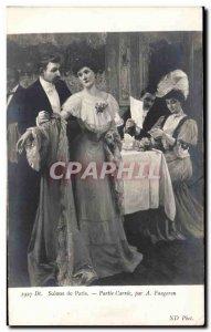Old Postcard Paris Salons Party Carree By Faugeron Woman