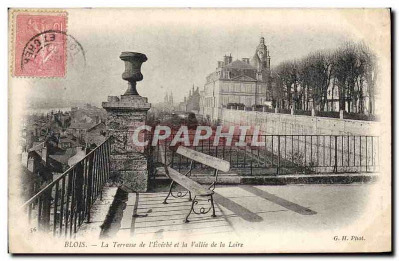 Old Postcard Blois La Terrasse From I & # 39Eveche And The Valley Of The Loire