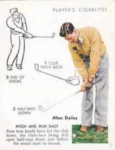 Player Vintage Cigarette Card Golf 1939 No 11 Pitch & Run Shot Allan Dailey