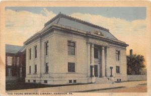 Hanover Pennsylvania~Young Memorial Library~Lampposts by Entrance~1924 Postcard
