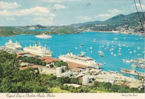 Typical Day in Charlotte Amalie Harbor, St. Thomas, Virgin Islands, 50-70s