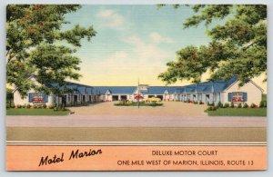 Marion Illinois~Motel Marion Deluxe Motor Court~Roadside Route 13~1950 Linen PC